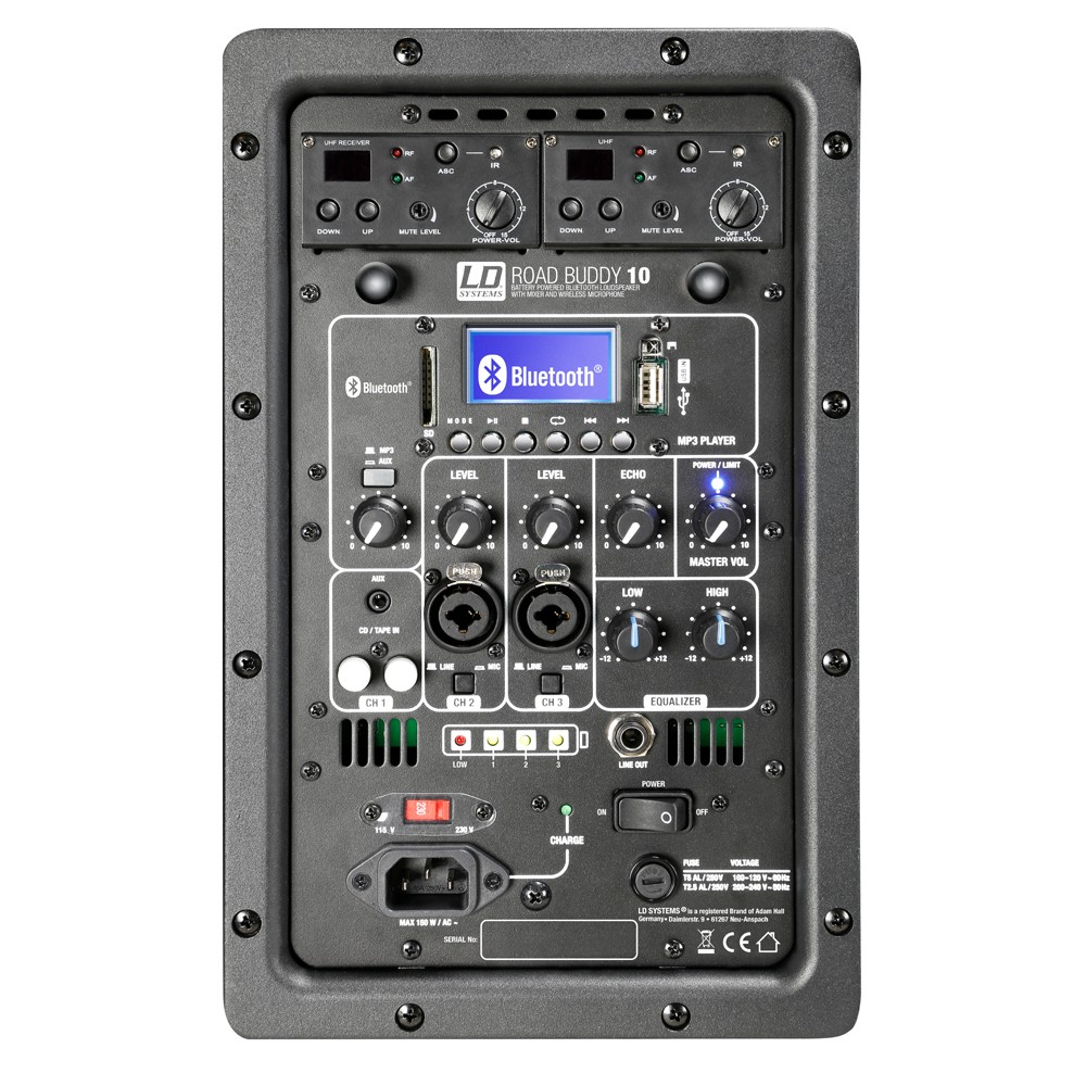 ROADBUDDY 10 HBH 2 Akkubetriebener Bluetooth-Lautsprecher mit Mixer, Funkmikrofon, Bodypack und Headset