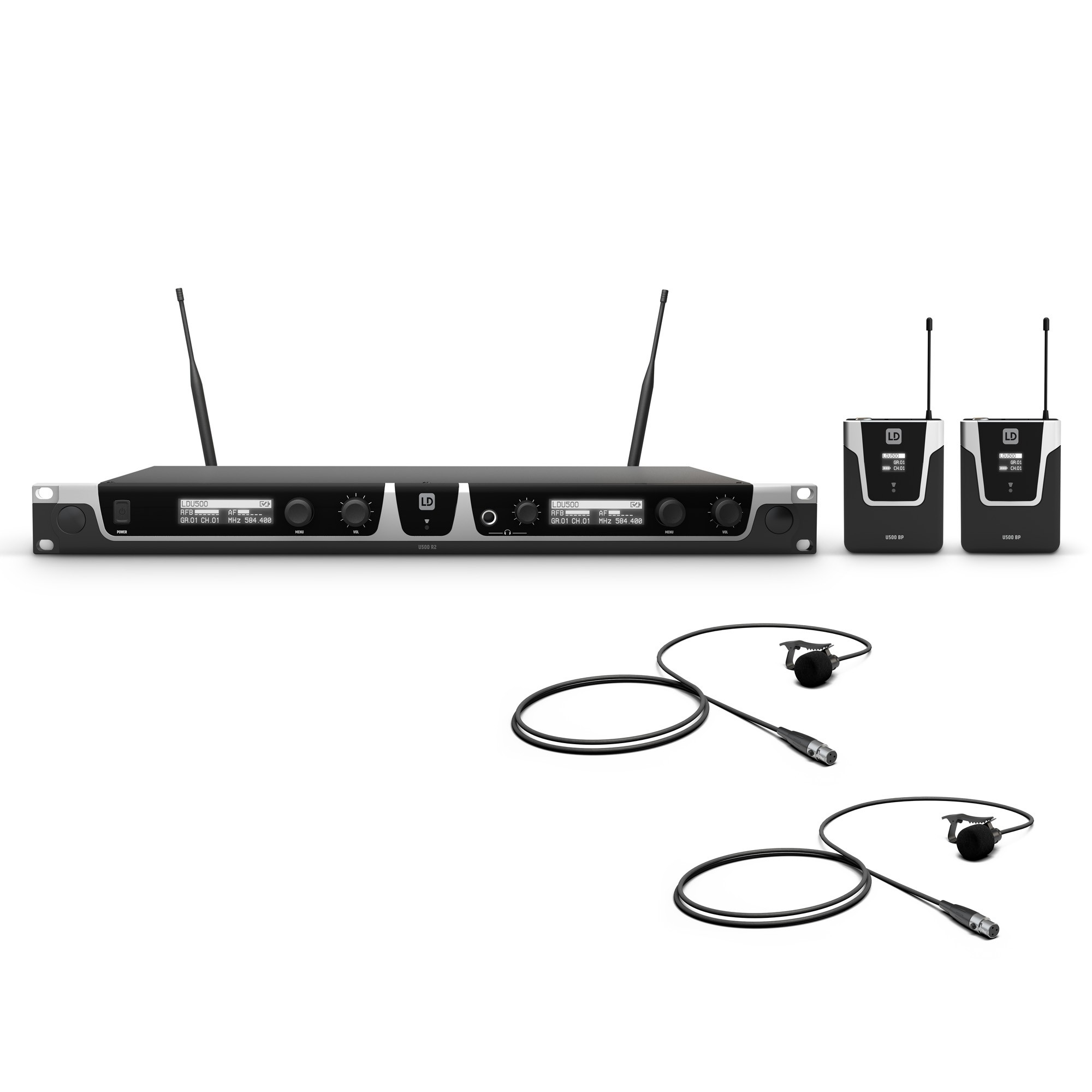 U506 BPL 2 Wireless Microphone System with 2 x Bodypack and 2 x Lavalier Microphone