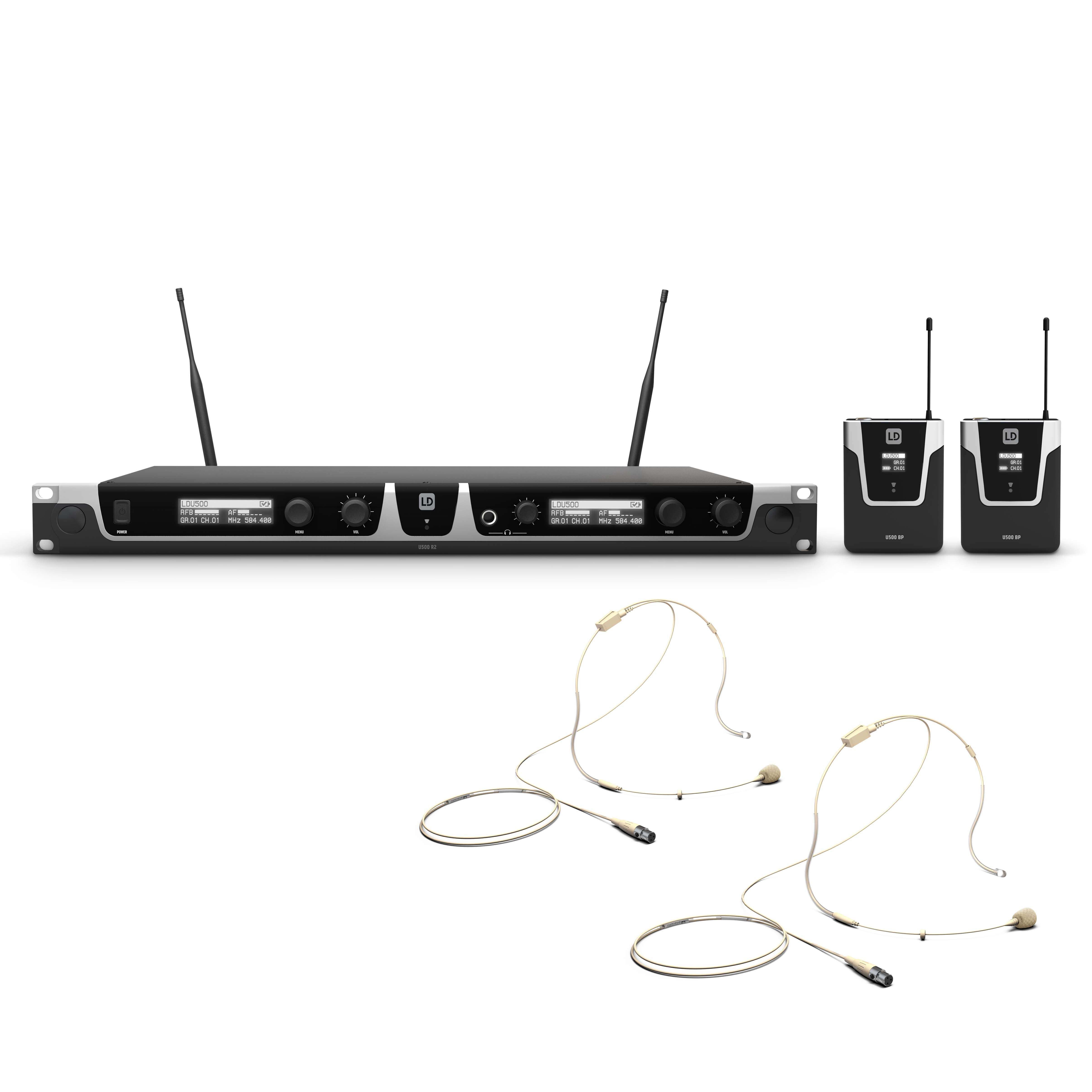 U508 BPHH 2 Wireless Microphone System with 2 x  Bodypack and 2 x Headset beige