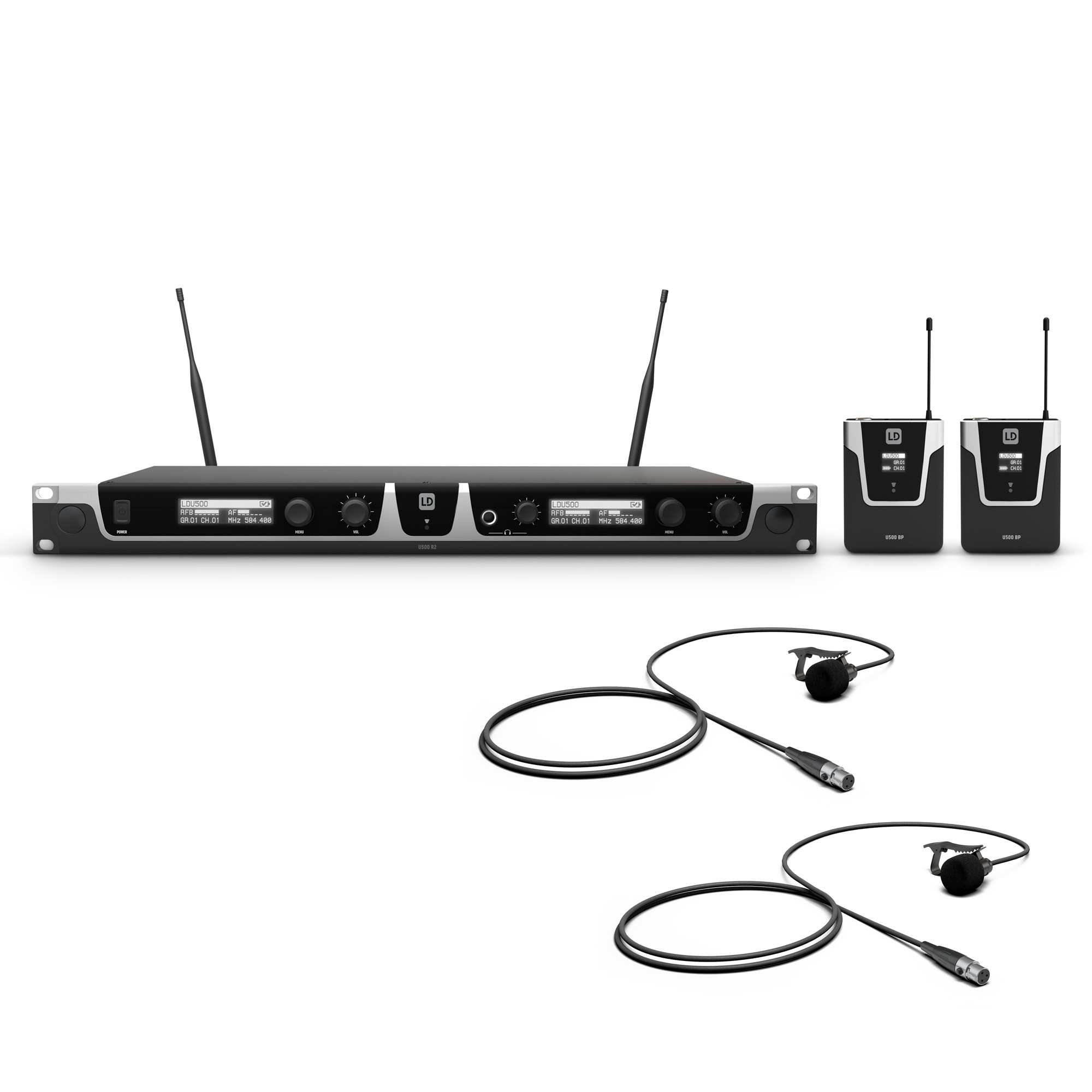 U508 BPL 2 Wireless Microphone System with 2 x Bodypack and 2 x Lavalier Microphone