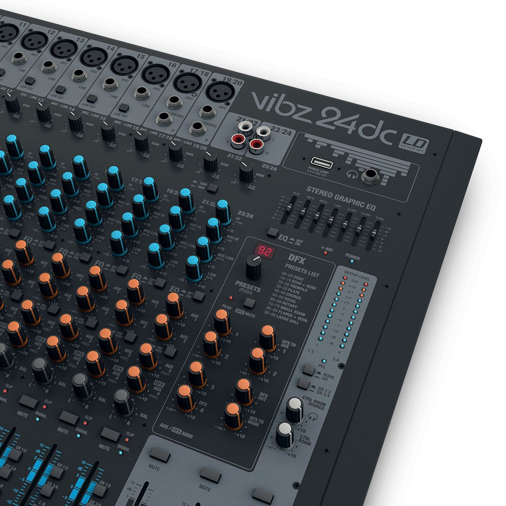 VIBZ 24 DC 24 channel Mixing Console with DFX and Compressor