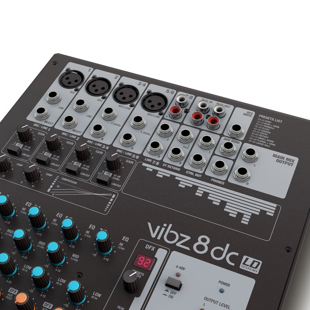 VIBZ 8 DC 8 channel Mixing Console with DFX and Compressor