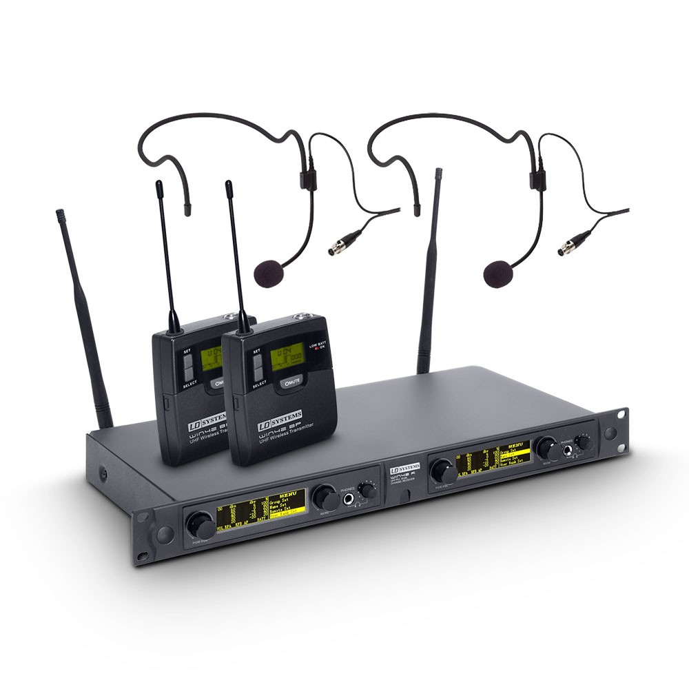 WIN 42 BPH 2 Wireless Microphone System with 2 x Belt Pack and 2 x Headset