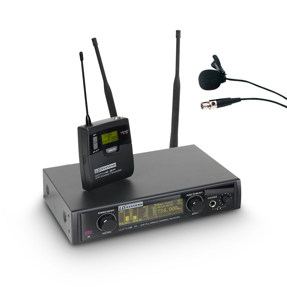WIN 42 BPL Wireless Microphone System with Belt Pack and Lavalier Microphone