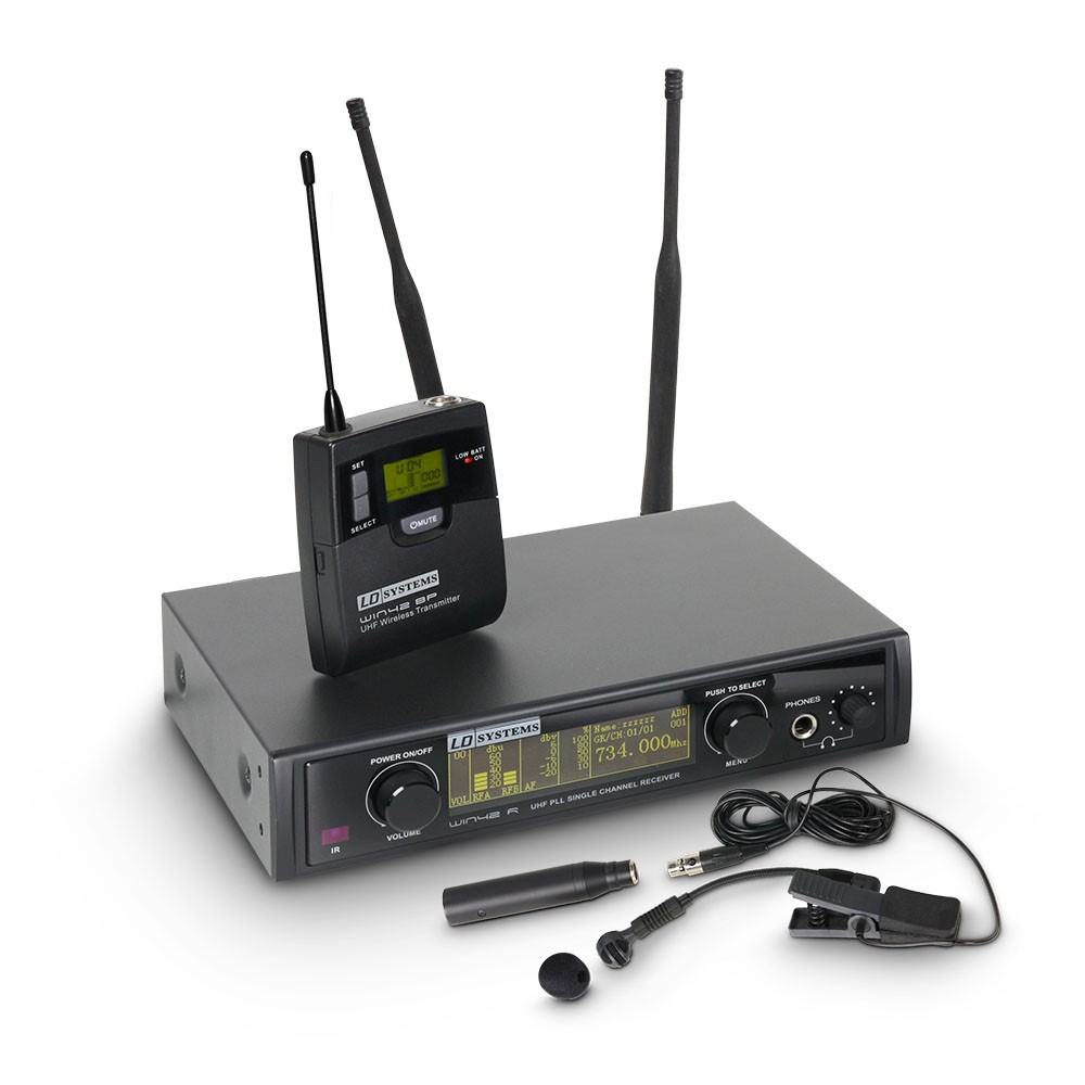 WIN 42 BPW Wireless Microphone System with Belt Pack and Brass Instrument Microphone
