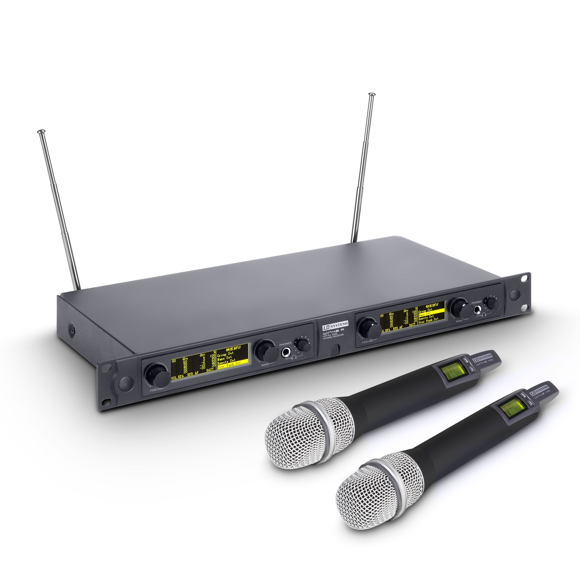 WIN 42 HHC 2 B 5 Wireless Microphone System with 2 x Condenser handheld microphone